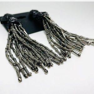nOir Jewelry Tassel Clip On Earrings Metallic